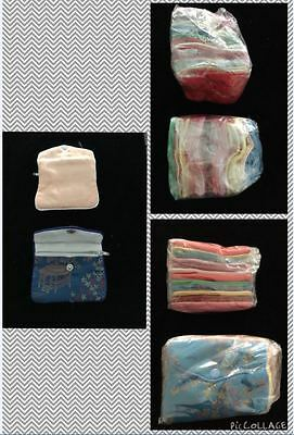 "Silk Jewelry Zipper & Snap Pouch Assorted Colors ONE DOZEN - 3 1/2"" x 3"""