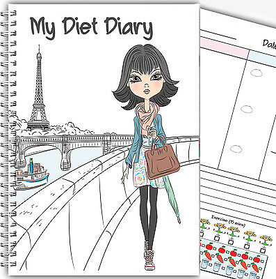 Diet Diary A5/ Slimming Food Tracker/diet & Weight Loss Diary Planner/ Paris