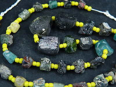 Ancient Roman Glass Fragments Beads Strand 200 BC BE1343