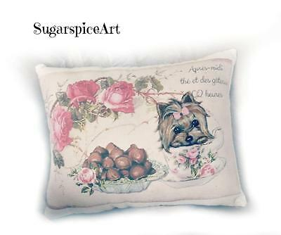 Yorkie Teacup Pillow Cushion Valentine Gift Home Decor Dog Art by SugarspiceArt