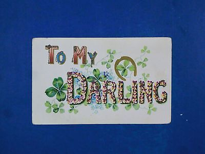 Vintage Embossed and Glittered Postcard To My Darling Unposted