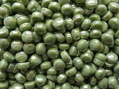 100g Circle Opus 92 CP Mid Green Pearl 12mm diameter x 6mm domed top Mosaic Tile