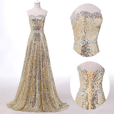 NEW Sequins Long Formal Evening Prom Dresses Woman Party BallGown Plus Size 6-16