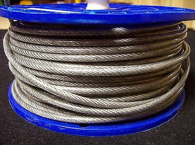 """New 250' Steel Wire Rope Aircraft Cable 1/8""""-3/16"""" Plastic Coated 7x7 Winch Line"""