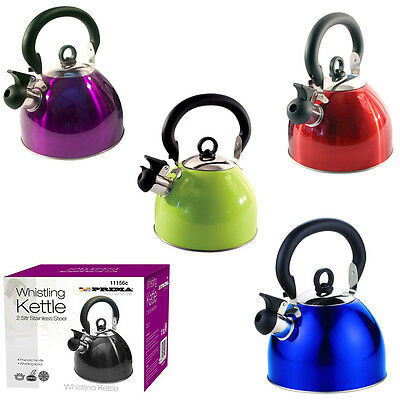 Whistling Kettle 2.5 /3 L PRIMA Stainless Steel Camping Kitchen Tea Coffee Spout
