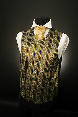 W - 547. Mens And Boys Ornate Gold Blue/amber Stripes Waistcoat