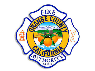 4x4 inch ORANGE COUNTY FIRE Maltese Cross Shaped Sticker - firefighter decal oc