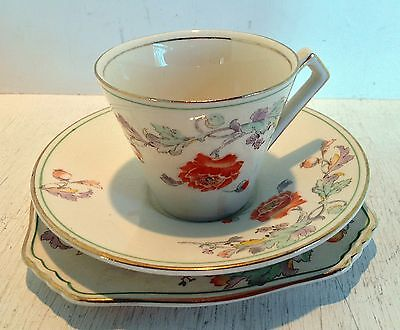 Vintage Royal Winton Cup, Saucer & Plate Trio, Orange Poppies, 1930-1934 (2090)