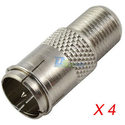 4Pcs F Push On Male Plug to F Female Jack Connector Quick Adapter Coaxial for TV