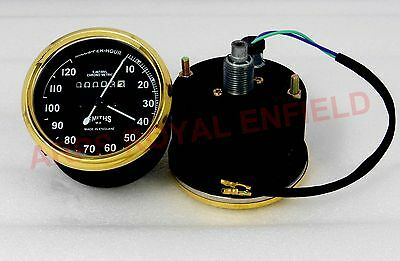 Vintage Replica Smith Speedometer 0-120 Mph Bsa Royal Enfied Norton Brass Bezel
