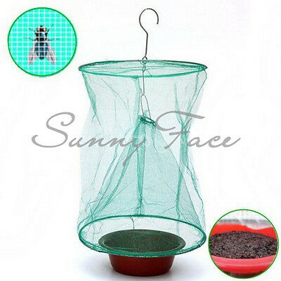 Reusable Green Eco Fly Motel Catcher Cage Net Trap+Bait