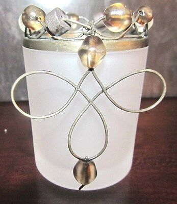NEW, PARTYLITE, BEADED MOTION VOTIVE CANDLE HOLDER, #P7693, FROSTED GLASS