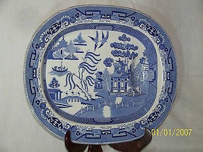 """18th/19th Century Antique Willow Pattern """"Large"""" Carving 19"""" Platter"""