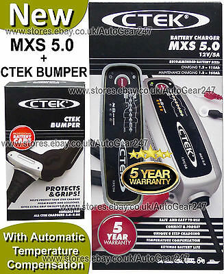 NEW CTEK MXS 5.0 12v Car Bike Caravan Smart Automatic Battery Charger & Bumper