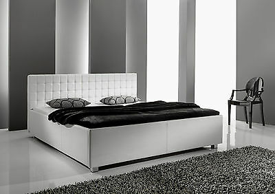 designer lederbett leder polsterbett schwarz oder weiss bettkasten lattenrost eur 359 00. Black Bedroom Furniture Sets. Home Design Ideas