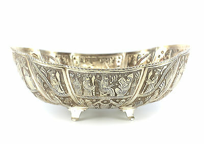Persian .840 Silver Footed Bowl; c.1950 Lobed Form Hand Engraved Figurals 34toz