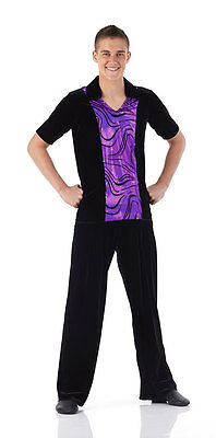 Dance Shirt Mens Boys Costume Jazz Ballet Tap Guys 8 Colors Flocked Foil