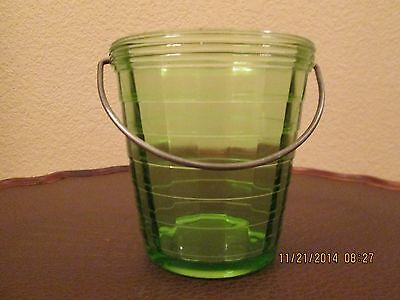 Antique Anchor Hocking Block Optic Green Ice Bucket with Handle