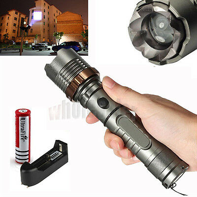 2000LM CREE XM-L T6 LED 18650 Flashlight Torch Zoomable+ 1x Battery+Charger USA