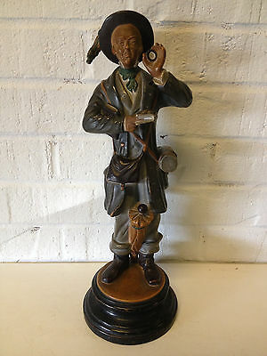 Vintage Antique European Terra Cotta Figurine of Man w/ Book & Holding Monocle