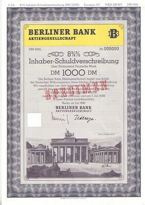 Berliner Bank AG  1000DM  1990 Brandenburger Tor