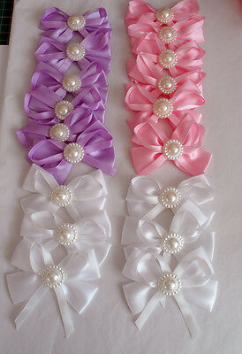 Large Satin bow with pearl trim pack 2