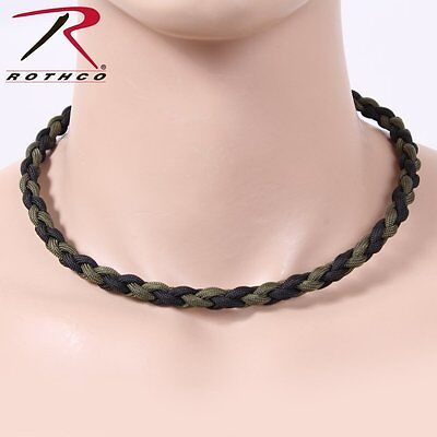 Paracord Necklace Olive Drab & Black - Length 22 Inches 92110 Rothco