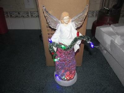 "11"" New Acrylic LED Angel with garland  Christmas lighted glitter"