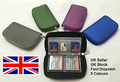 GREY Memory Card Wallet Holder Storage SD SDHC CF Micro SD Carry Case Pouch
