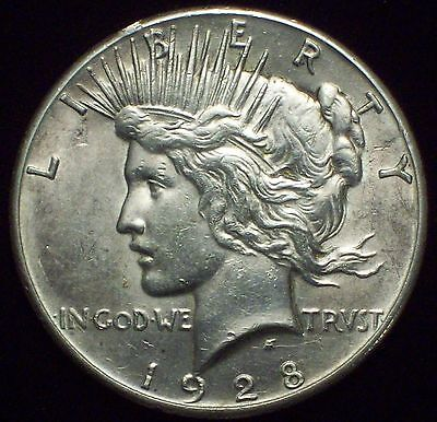 1928 SILVER Peace Dollar *RARE* Key Date - High AU Detailing Authentic US Coin