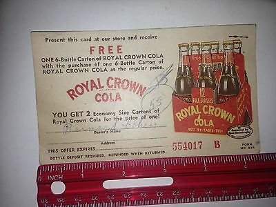 Royal Crown Cola Coupon for free 6 bottle carton 1940s 1950s RC