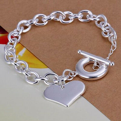 Free Shipping 925 Sterling Silver TO Buckle Heart bran Bracelet + gift-box-CH285