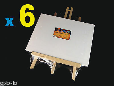 "6x Timber Easel Display Stand With Blank Canvas (9""x12"" / 23x30.5cm canvas size)"