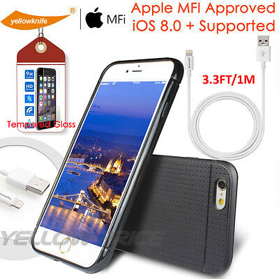 CERTIFIED 1M USB Charger Sync Lightning Cable+iPhone 6 Case Ballistic Glass Film