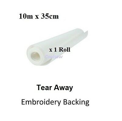 TEAR AWAY BROTHER EMBROIDERY BACKING STABILISER 10m x 35cm TOP QUALITY STRONG