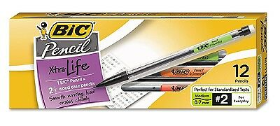 BIC Mechanical Pencil HB #2 0.7 mm Clear Barrel Refillable Dozen - New Item