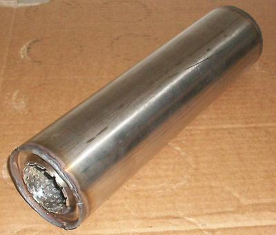 """50mm bore (2"""") 3"""" Round x 14"""" Long Universal Stainless steel exhaust silencer"""