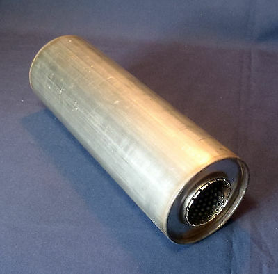 """50mm bore (2"""") 4"""" Round x 14"""" Long Universal Stainless steel exhaust silencer"""