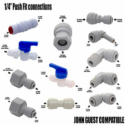 """Compatible with John Guest JG Water Filter 1/4"""" Push Fit Tap Connections"""
