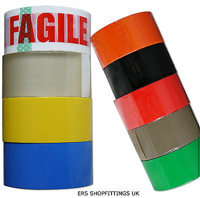 STRONG PACKING TAPE - BROWN / CLEAR / FRAGILE & MORE Rolls PARCEL TAPE