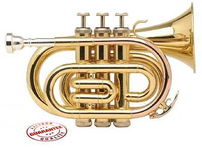 Fever Student Gold Finish Pocket trumpet With Case & Mouthpiece, WALPOKL