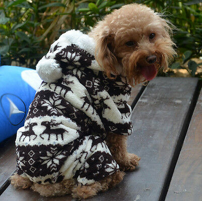 Winter Warm Pet Dog Puppy Snowflake Hoodie Jumpsuit Coat Clothes Costume CoffeeL