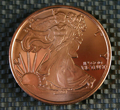 1 OZ ONE OUNCE .999 FINE COPPER ROUND COIN - LIKE SILVER EAGLE WALKING LIBERTY