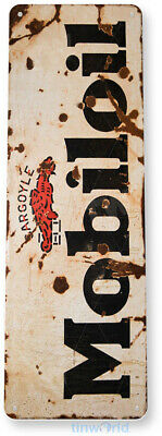 "TIN SIGN ""Mobil-oil"" Gas Pump Station Metal Decor Garage Shop Bar Cave A500 #"