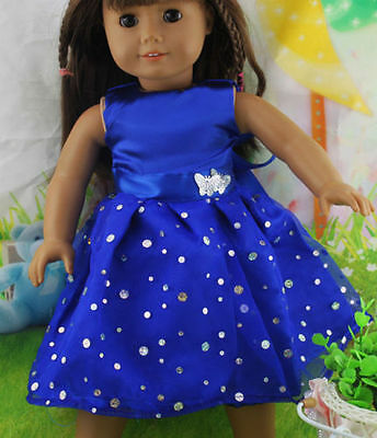 """So Cute Party Blue Sparkling Dress made to fit 18"""" American Girl Dolls"""