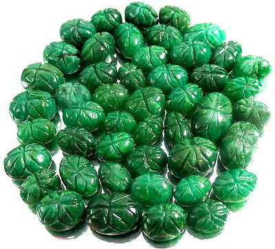 380 CT NATURAL BRAZILIAN GREEN EMERALD CARVED RING SIZE GEMS LOT/47 PCS~11-18mm