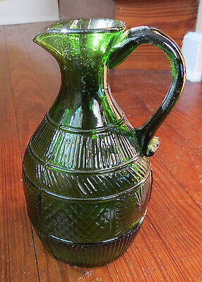 Nice Clevenger Brothers Pattern Glass Pitcher In Olive Green