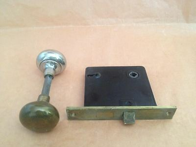 Antique Set of Brass Door Knobs w/Mortise Rare