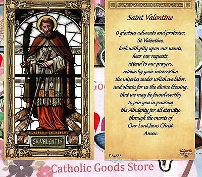 St Valentine with Prayer to St Valentine - Paperstock Holy Card
