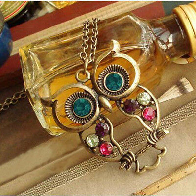 Cute Women Lady Vintage Color Rhinestone Owl Pendant Long Chain Necklace Gifts